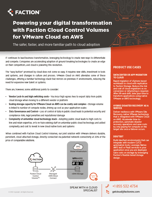 Cloud Control Volumes for VMC on AWS | Fact Sheet